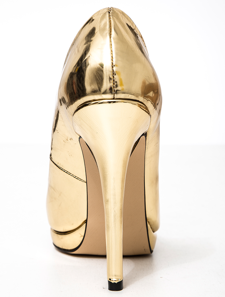 STİLETTO Luxury Altın Ayna Platform Stiletto