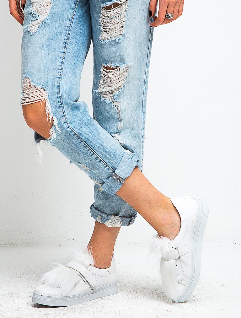SPOR AYAKKABI Fania Beyaz Tüylü Spor Ayakkabı