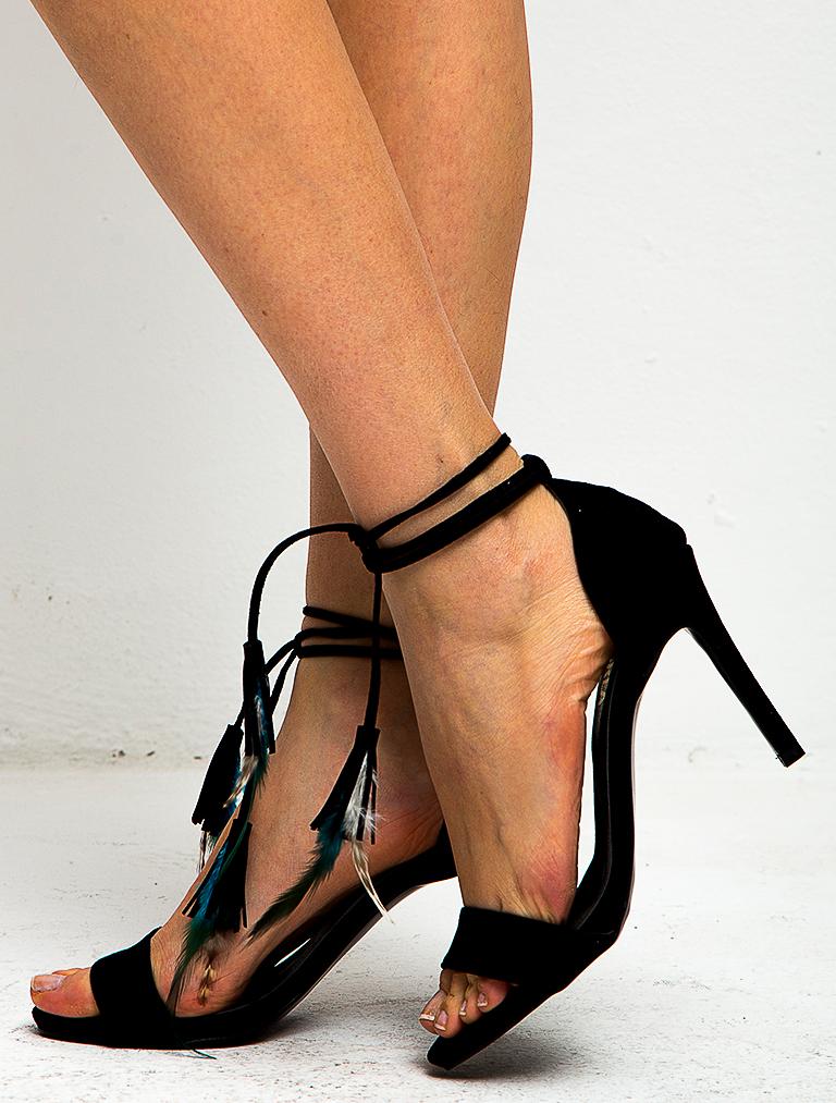 TOPUKLU SANDALET Bia Siyah Süet Tüylü Topuklu Sandalet