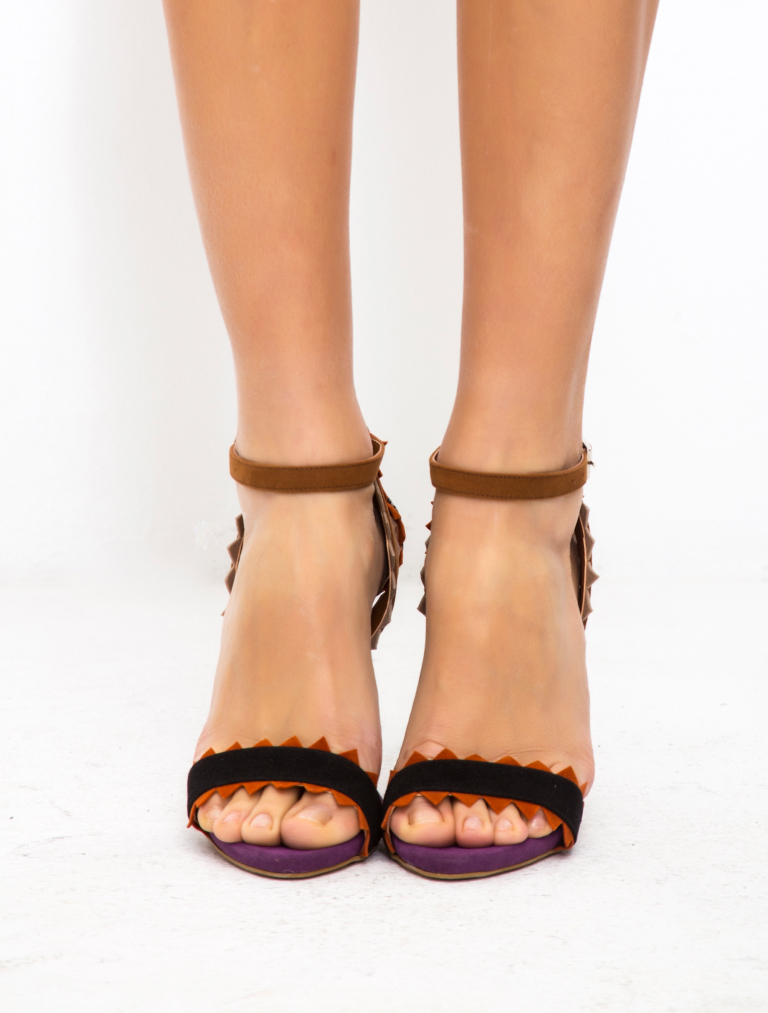 TOPUKLU SANDALET Alecia Renkli Dekolte Topuklu Sandalet