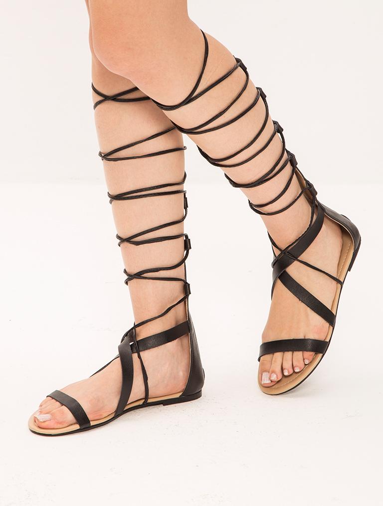 SANDALET / TERLİK Arjen Siyah Sarmal Bağlı Sandalet