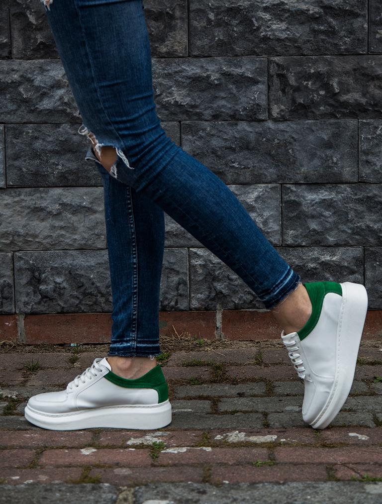 SPOR AYAKKABI Terry Beyaz Yeşil Kombin Kalın Taban Spor Ayakkabı
