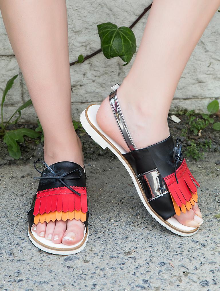 AYAKKABI Levy Renkli Kombin Püsküllü Sandalet