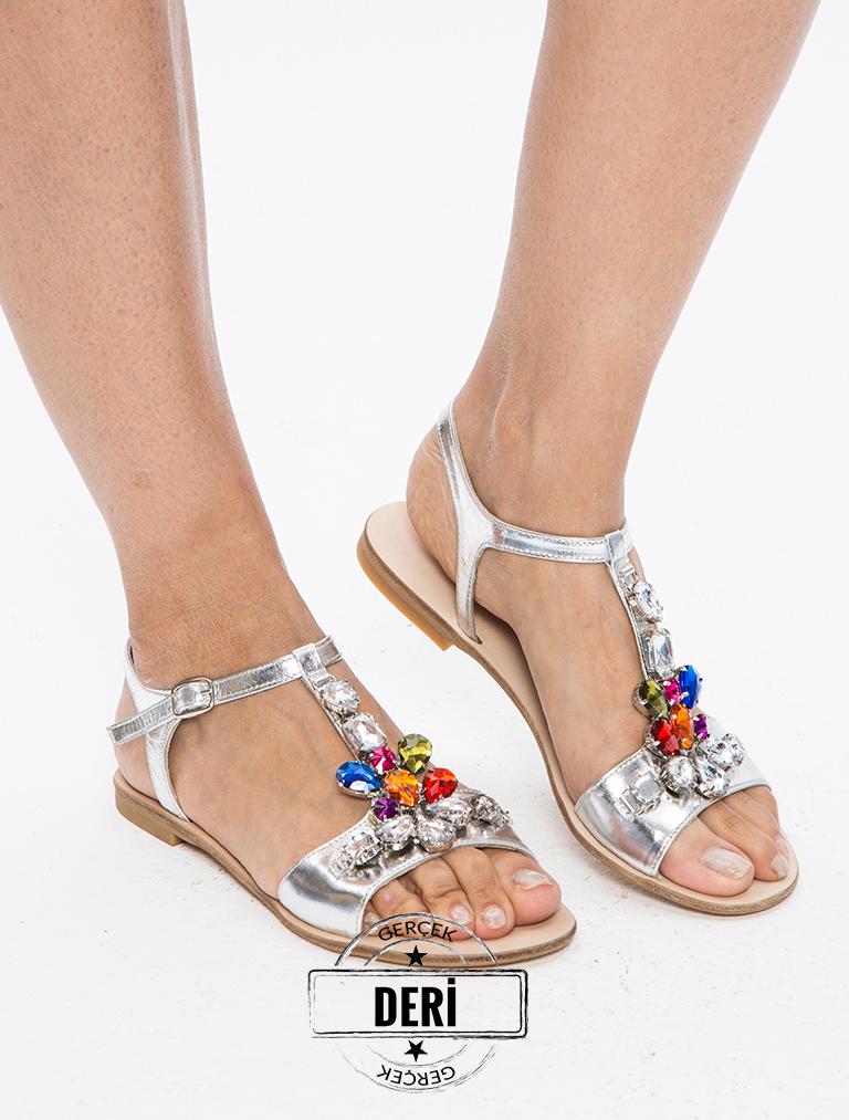 SANDALET / TERLİK Ariaz Gümüş Simli Gerçek Deri Renkli Taşlı Sandalet