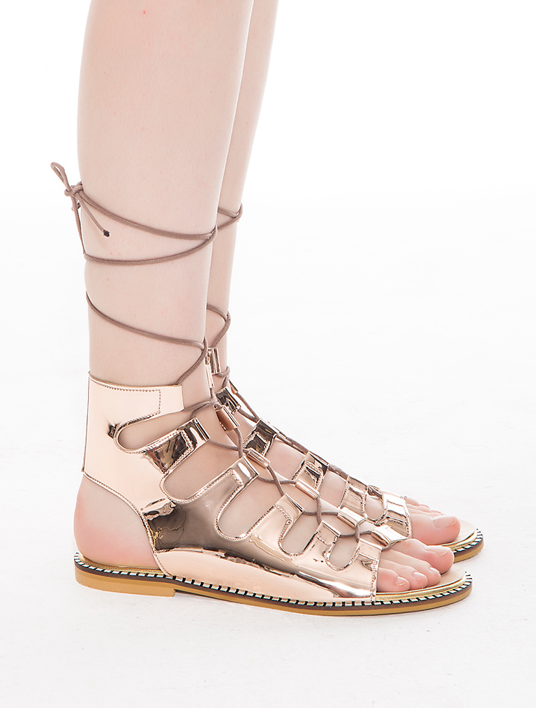 AYAKKABI Galea Rose Gold Ayna Dekolte Sandalet