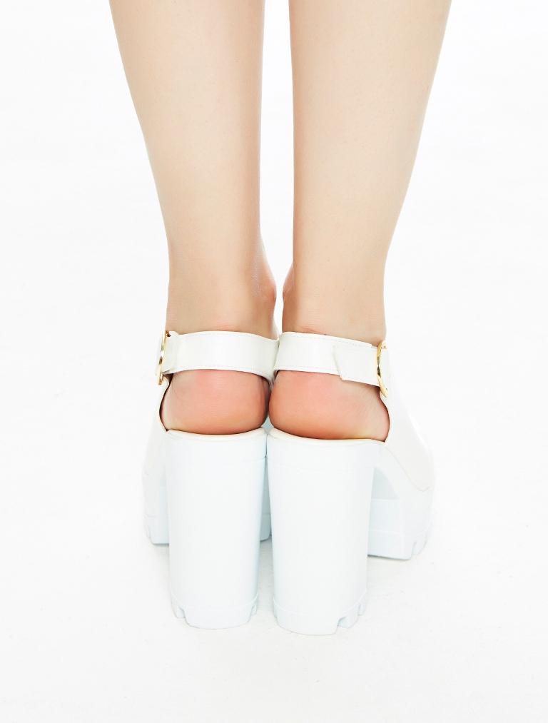 AYAKKABI Roge Beyaz Açık Burun Platform Topuklu