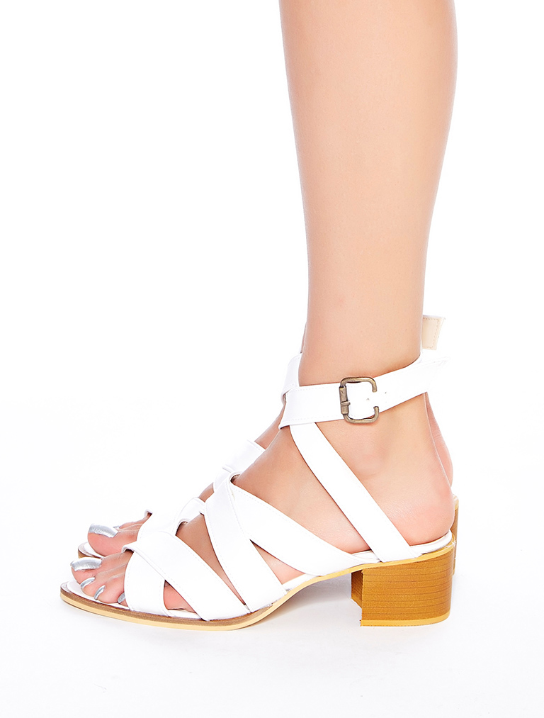 SANDALET / TERLİK Arkansas Beyaz Topuklu Sandalet