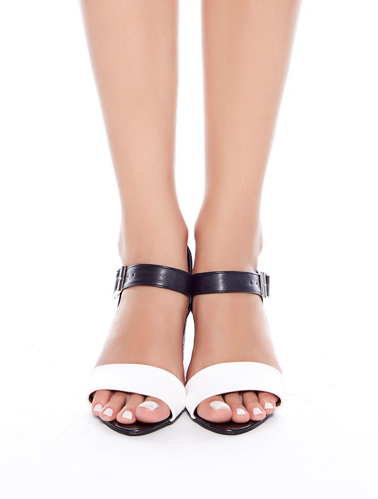 TOPUKLU SANDALET Dabney Siyah Beyaz Yılan Kombin Topuklu Sandalet