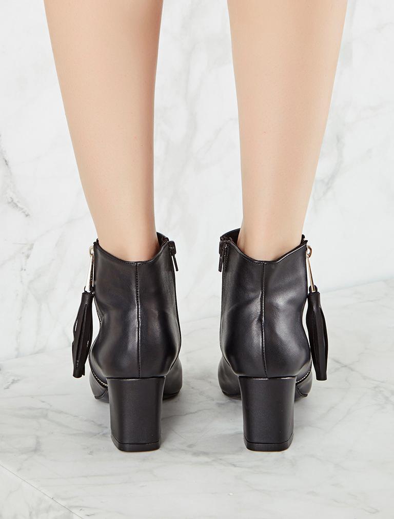 TOPUKLU BOT Amina Siyah Düşük Topuklu Bot