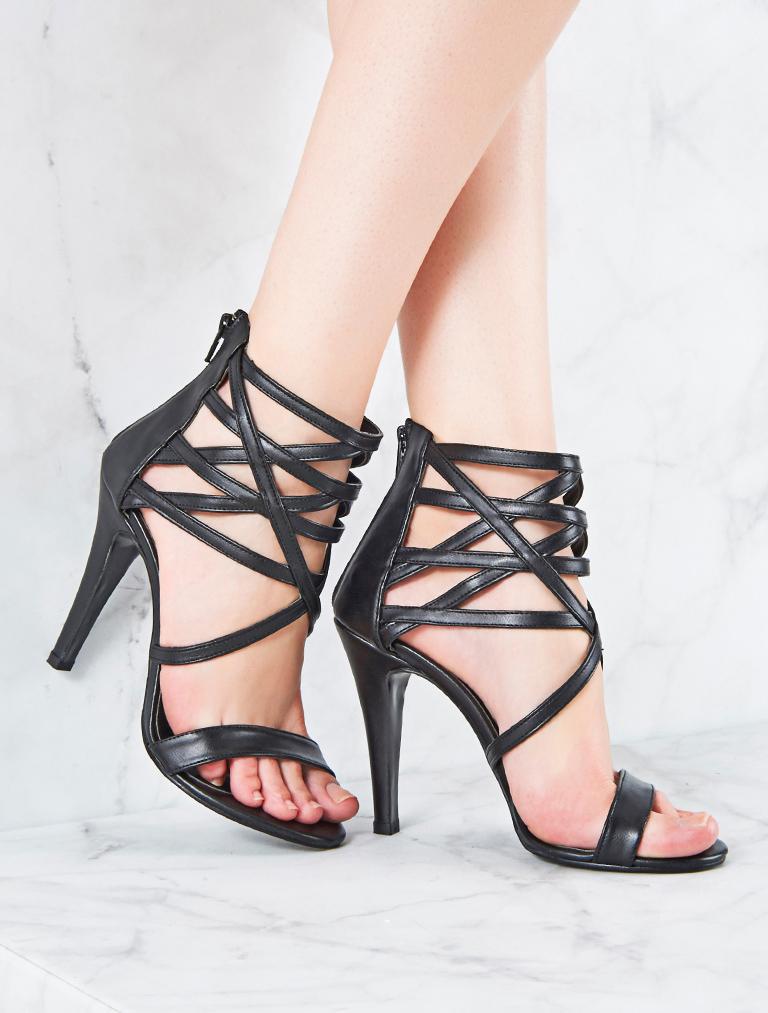AYAKKABI Katrine Siyah Pencereli Topuklu Sandalet