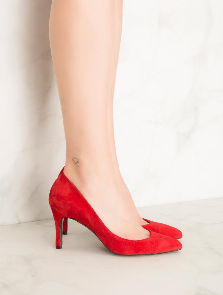 STİLETTO Fairmix Kırmızı Hakiki Süet Stiletto