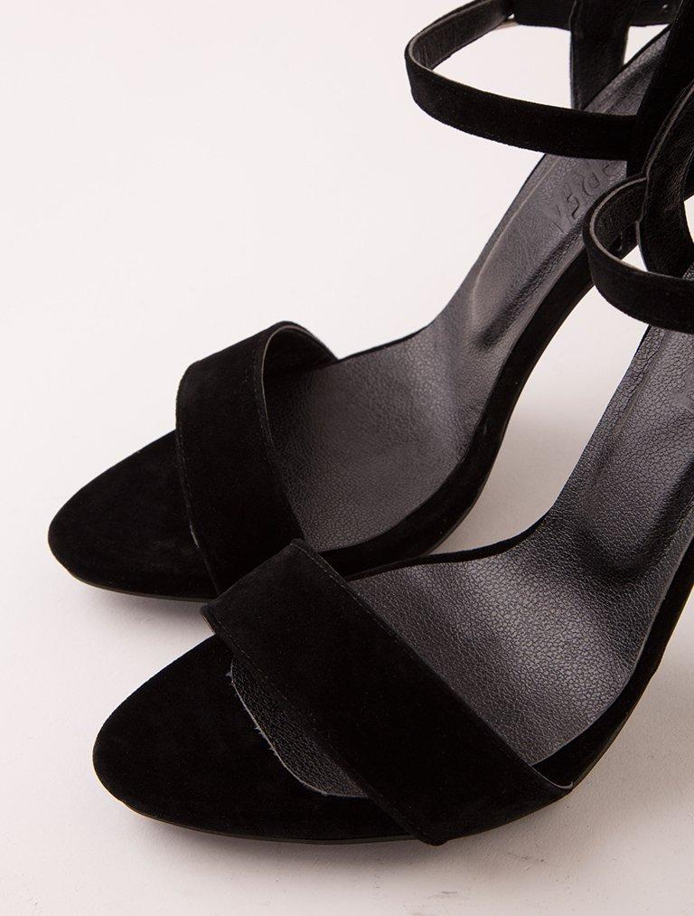 TOPUKLU SANDALET Evra Siyah Süet Topuklu Sandalet