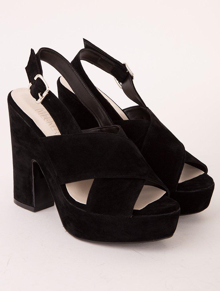 PLATFORM TOPUKLU Bonbon Siyah Süet Platform Topuklu Sandalet