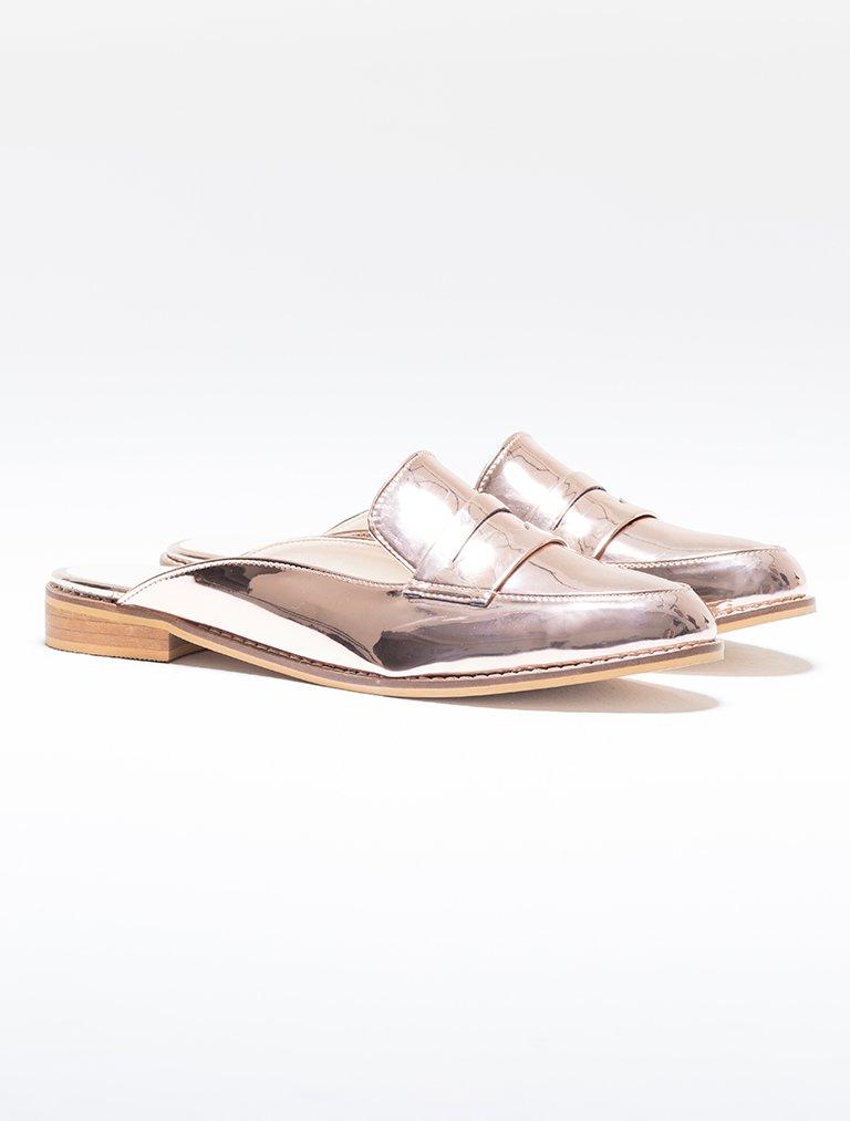 SANDALET / TERLİK Vera Rose Gold Ayna Loafer Terlik