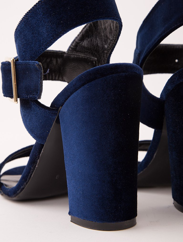 GÜNDELİK TOPUKLU Filomena Saks Mavi Gerçek Kadife Topuklu Ayakkabı