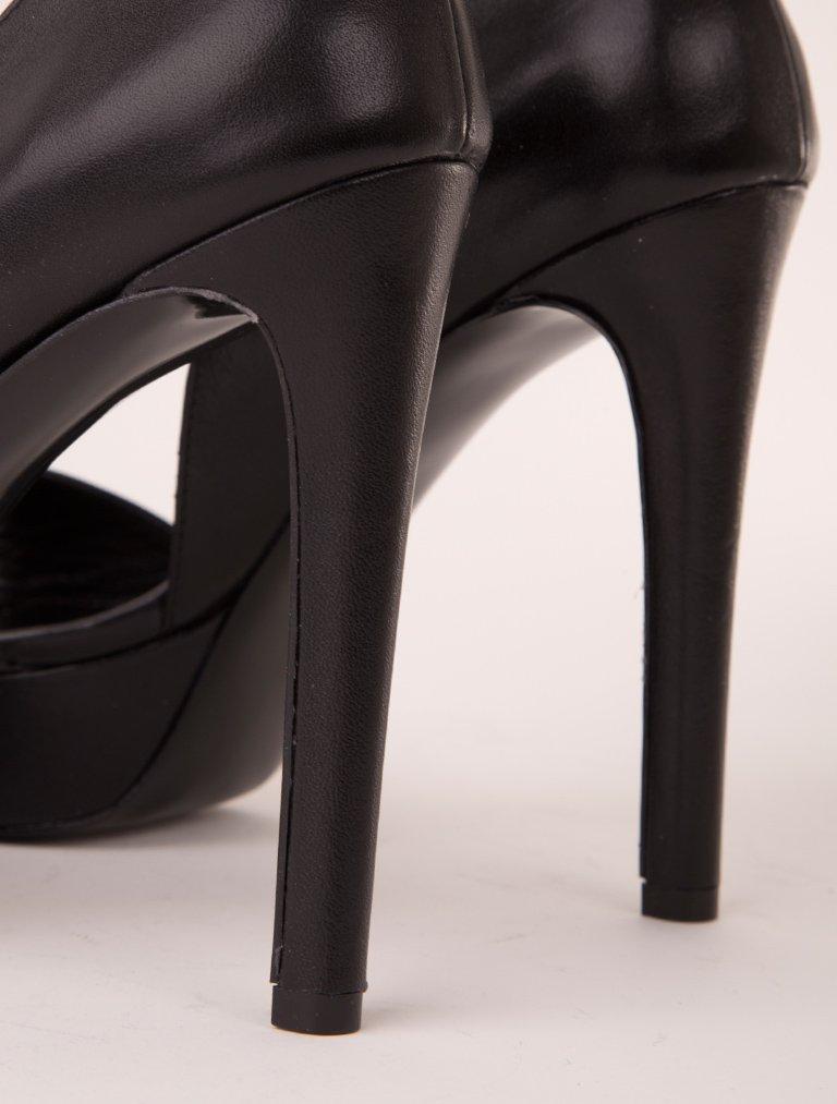 PLATFORM TOPUKLU Lorella Siyah Hakiki Deri Topuklu Ayakkabı