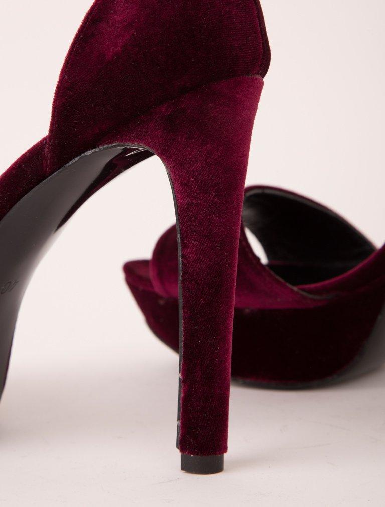 PLATFORM TOPUKLU Serena Bordo Hakiki Kadife Topuklu Ayakkabı