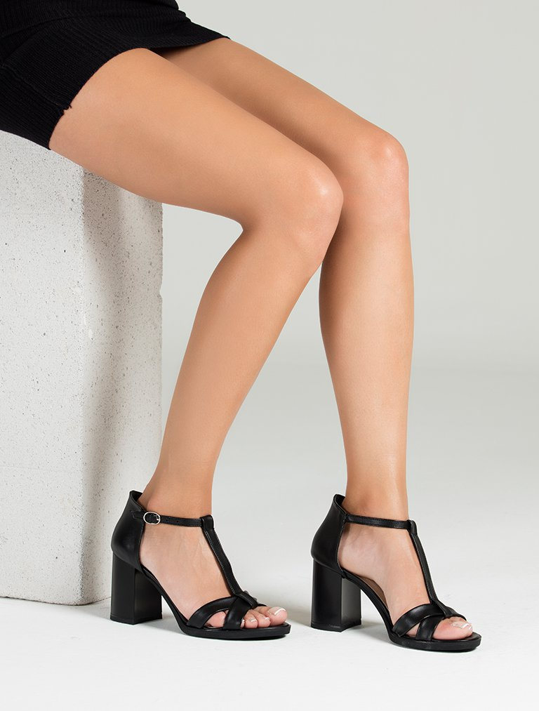 TOPUKLU SANDALET Morlin Siyah Dekolte Topuklu Sandalet
