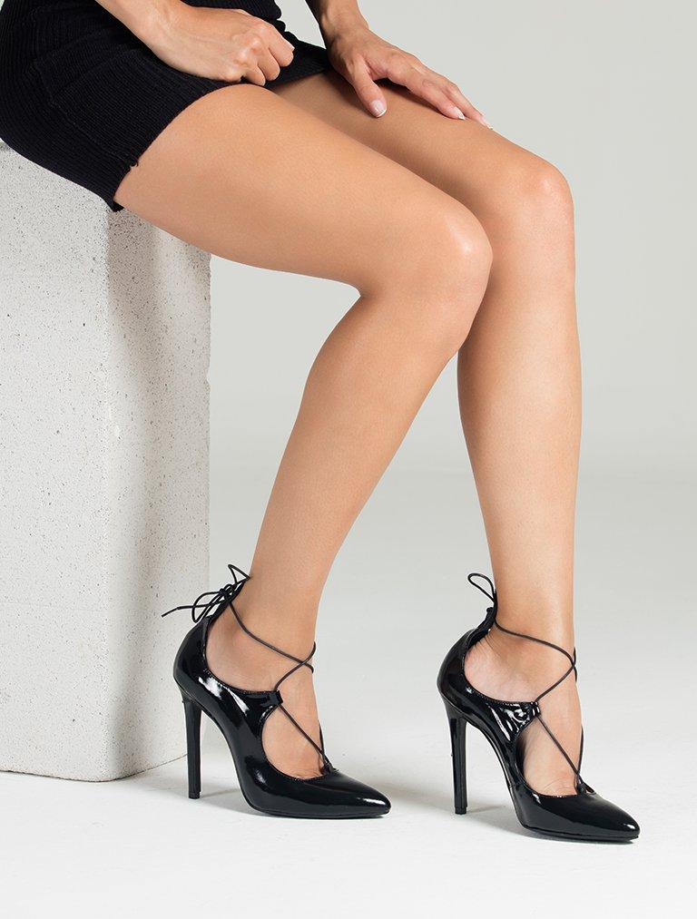 TOPUKLU AYAKKABI Erica Siyah Hakiki Rugan Topuklu Ayakkabı