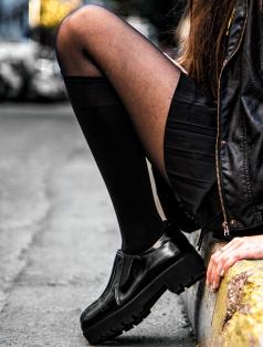 Tetra Siyah Yüksek Topuk Loafer