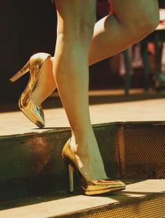 Luxury Altın Ayna Platform Stiletto