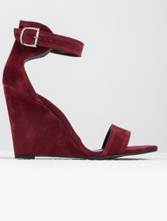 Athens Bordo Süet Dolgu Topuk Sandalet