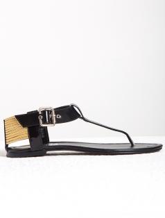 Bima Siyah Altın Bantlı Sandalet