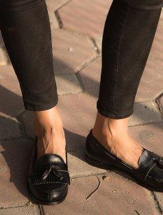 Jack Siyah Püsküllü Loafer