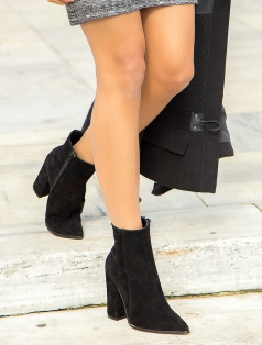 Natali Siyah Süet Topuklu Bot
