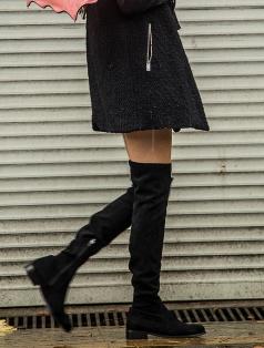Britany Siyah Stretch Düz Çorap Çizme