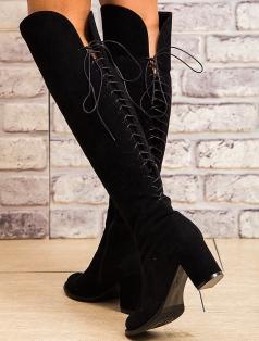 Alexandra Siyah Süet Arka Bağcık Dekolte Çizme