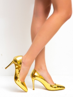 Leila Altın Ayna Dekolte Stiletto