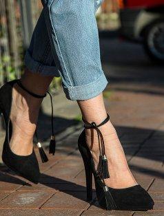 Leslie Siyah Süet Platform Topuklu Stiletto