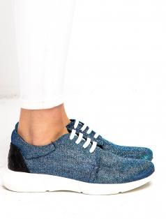 Tramp Mavi Simli Renkli Spor Ayakkabı