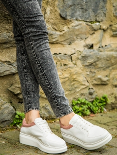 Terry Beyaz Pudra Kombin Kalın Taban Spor Ayakkabı