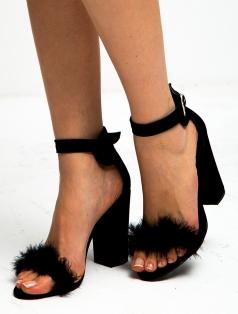 Roselyn Siyah Süet Tüylü Kalın Topuklu Sandalet