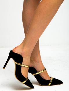 Prinz Siyah Süet Altın Bantlı Stiletto
