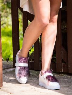 Fania Beyaz Pudra Kombin Tüylü Spor Ayakkabı