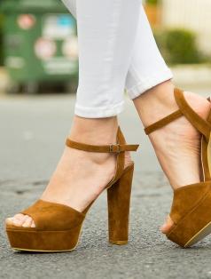 Gredi Taba Süet Platform Topuklu Sandalet