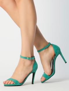 Katty Mint Yeşili Süet Topuklu Sandalet