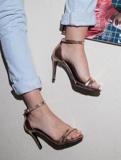 Katty Rose Altın Ayna Topuklu Sandalet