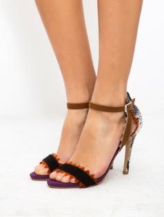 Alecia Renkli Dekolte Topuklu Sandalet