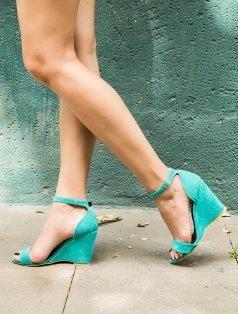 Athens Mint Yeşili Süet Dolgu Topuklu Sandalet