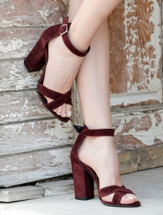 Selena Bordo Süet Topuklu Sandalet
