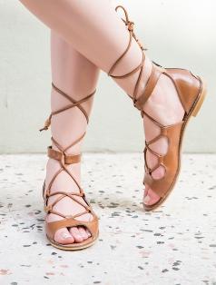 Anceint Taba Sarmal Bağlı Dekolte Sandalet