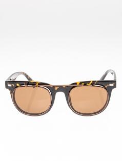 Two Face Retro Leopar Kahverengi Güneş Gözlüğü