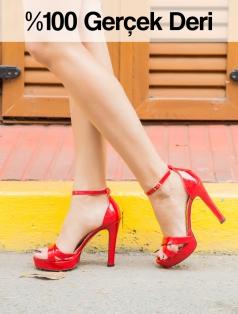 Durden Kırmızı Gerçek Rugan Dekolte Platform Topuklu