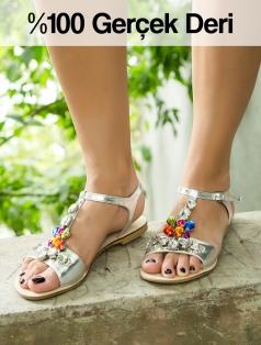 Ariaz Gümüş Simli Gerçek Deri Renkli Taşlı Sandalet