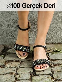 Sendy Siyah Gerçek Deri Taşlı Sandalet
