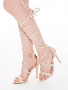 King Ten Rengi Sarmal Bağlı Topuklu Sandalet
